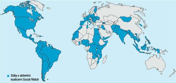 Státy s aktivními koalicemi Social Watch